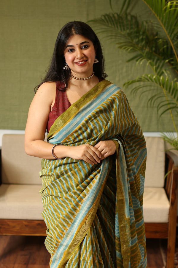 Pickle Green Sanganeri Hand Block Printed Maheshwari Silk Saree