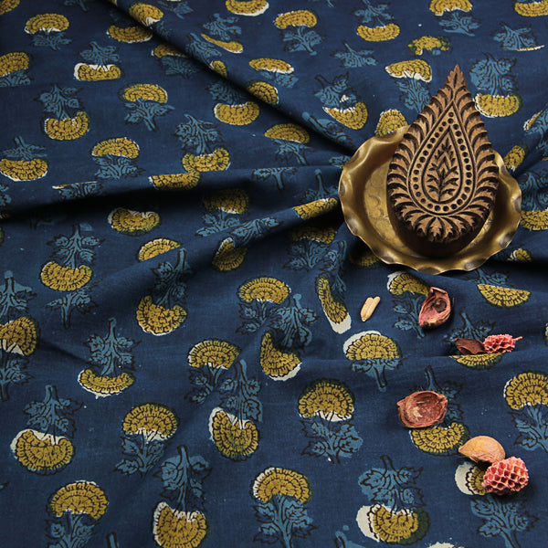 Indigo-Mustard Flower Butti Sanganeri Cotton Fabric