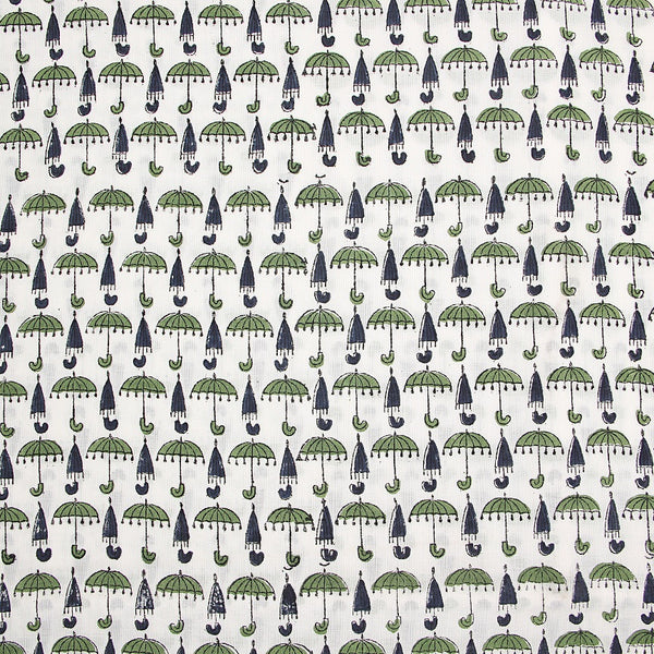 Green-Indigo Umbrella Butti Sanganeri Cotton Fabric