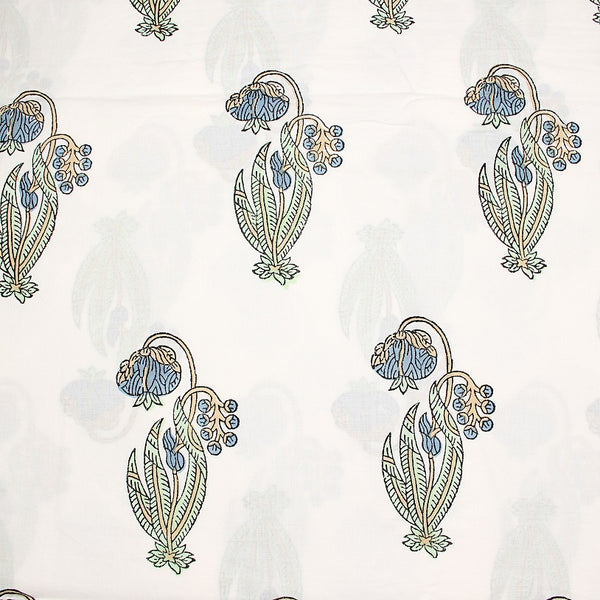 Indigo-Green Flower Butta Sanganeri Cotton Fabric