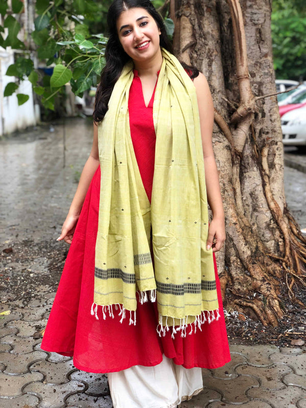 Handwoven Soft Cotton Chutney Green Stole