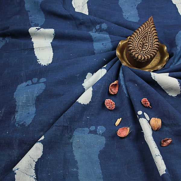Dabu Indigo Block Printed Cotton Fabric