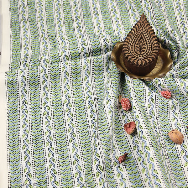 Small Leaf Border Sanganeri Cotton Fabric