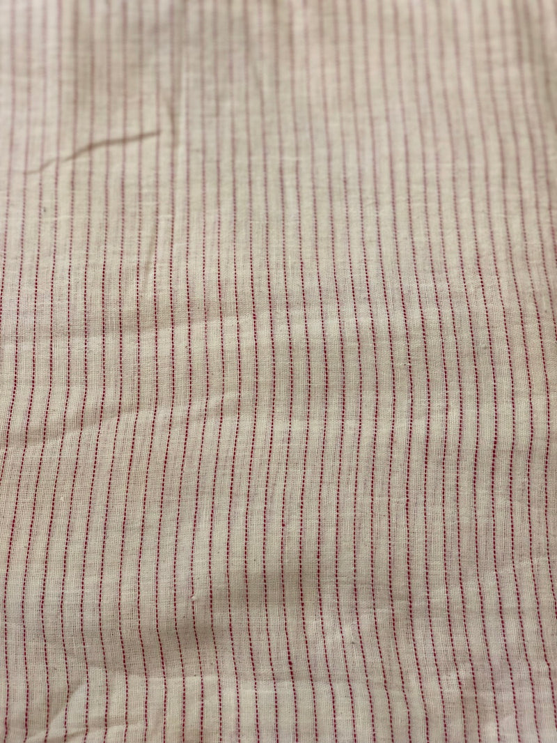 Maroon Striped Handwoven Kotpad Cotton Fabric