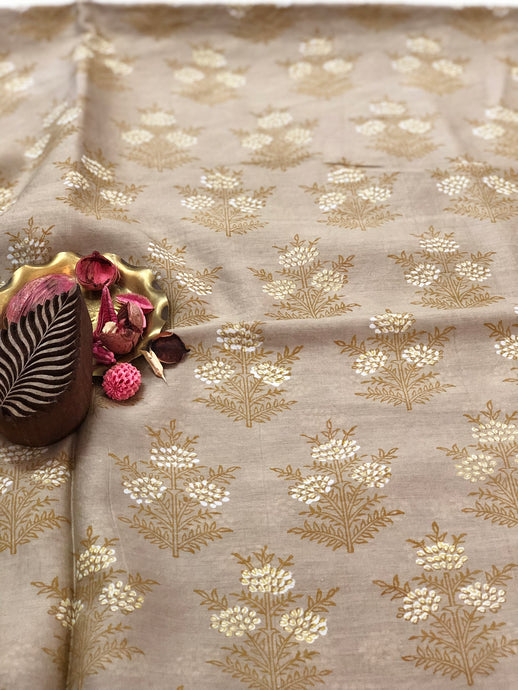 Grey Blossoms Chanderi Silk Fabric