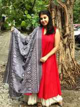 Handwoven Soft Cotton Grey Dupatta