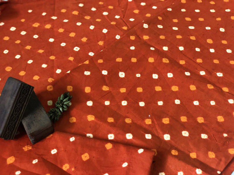 Bandhej Orange Cotton Fabric (2.5m)
