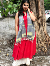 Handwoven Soft Cotton Grey & Chutney Green Stole
