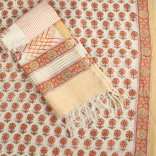 Chanderi Silk Hand Block Printed Unstitched Kurta + Dupatta Set