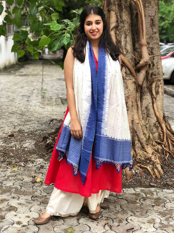 Handwoven Hand Embroidered Kutch Cotton Shawl