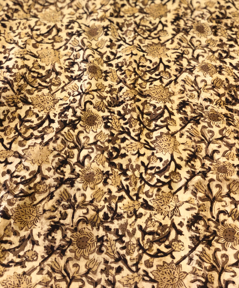 Floral Jaal Block Print Fabric