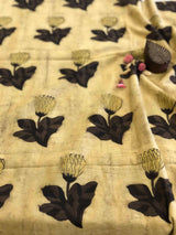 Beige Flower Block Print Fabric