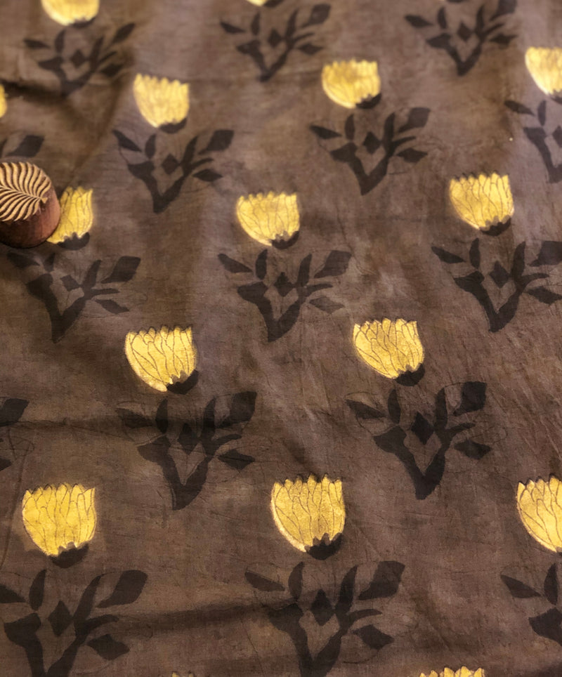 Brown Flower Block Print Fabric