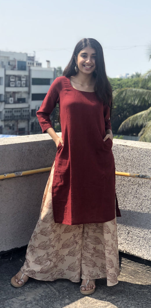 Madder Kala Cotton Kurta & Flared Palazzo Set