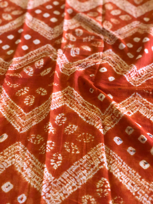 Madder Bandhej Mal Cotton Fabric (3.30meters)