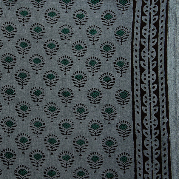 Grey Bagru Hand Block Printed Cotton Fabric