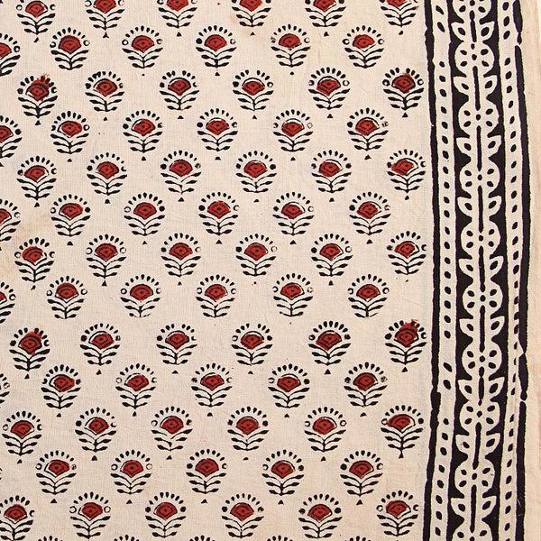 White-Red Butti Bagru Hand Block Printed Cotton Fabric