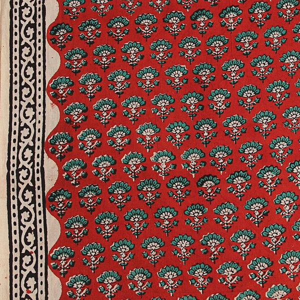 Red-Green Butti Bagru Hand Block Printed Cotton Fabric