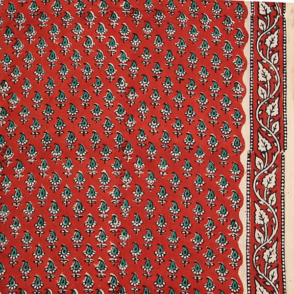 Red Leaf Butti Bagru Hand Block Printed Cotton Fabric