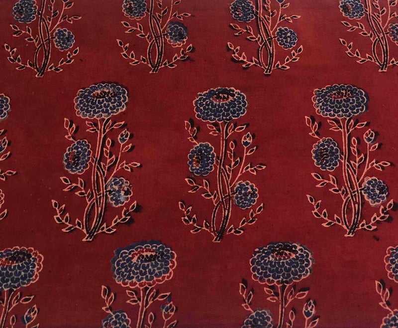 Maroon with Indigo Phool Block Print Fabric