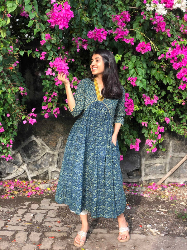 Raisa Henna Indigo Pleated Kurta