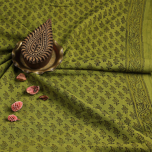 Green Small Leaf Bagru Hand Block Printed Cotton Fabric