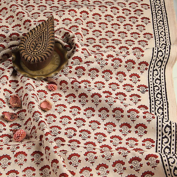 Off White Bagru Hand Block Printed Cotton Fabric