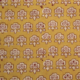 Balotra Traditional Mustard Floral Cotton Fabric
