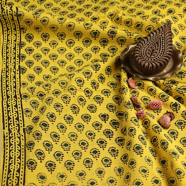 Yellow Small Butti Bagru Hand Block Printed Cotton Fabric