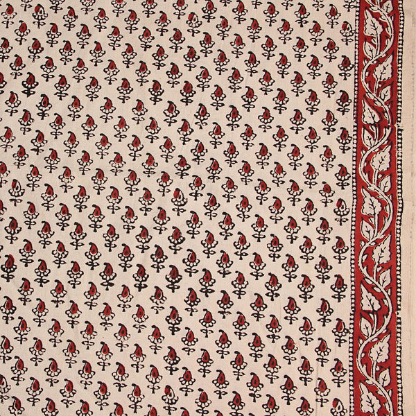 White Small Butti Bagru Hand Block Printed Cotton Fabric