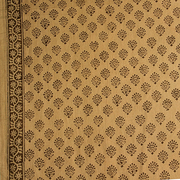 Beige Bagru Hand Block Printed Cotton Fabric