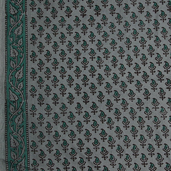 Bagru Small Leaf Butti Hand Block Printed Cotton Fabric