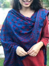 Broad Zari Border Chanderi Silk Ajrakh Dupatta