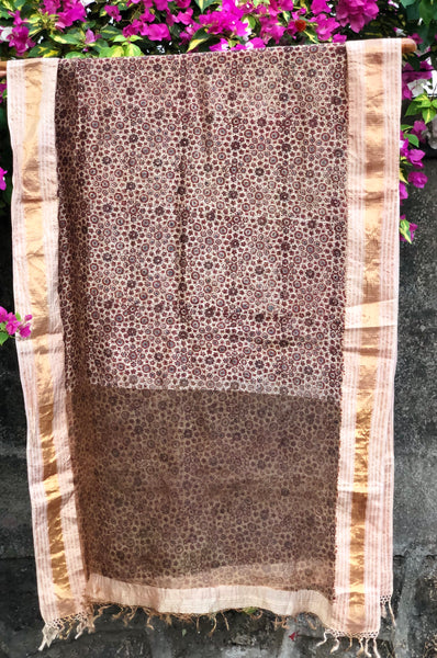 Soft Chanderi Silk Ajrakh Dupatta with Zari Border
