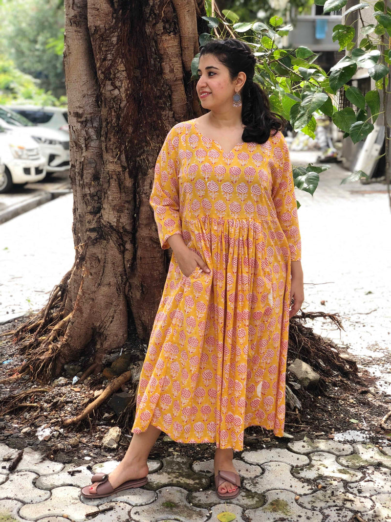 Yellow Poppy Pocket Dress