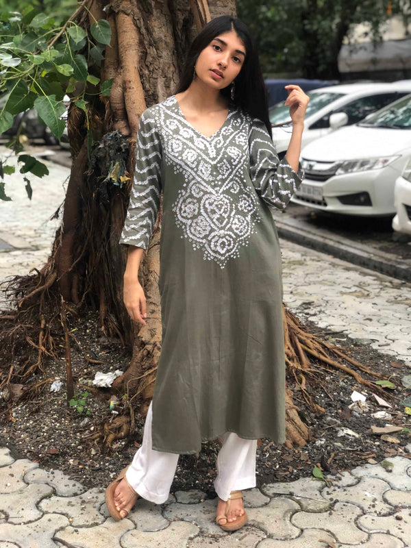 Light Grey Sitara Bandhej Kurta
