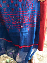 Bandhej Blue Mirror Work Cotton Dupatta