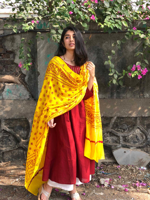 Bandhej Yellow Mirror Work Cotton Dupatta
