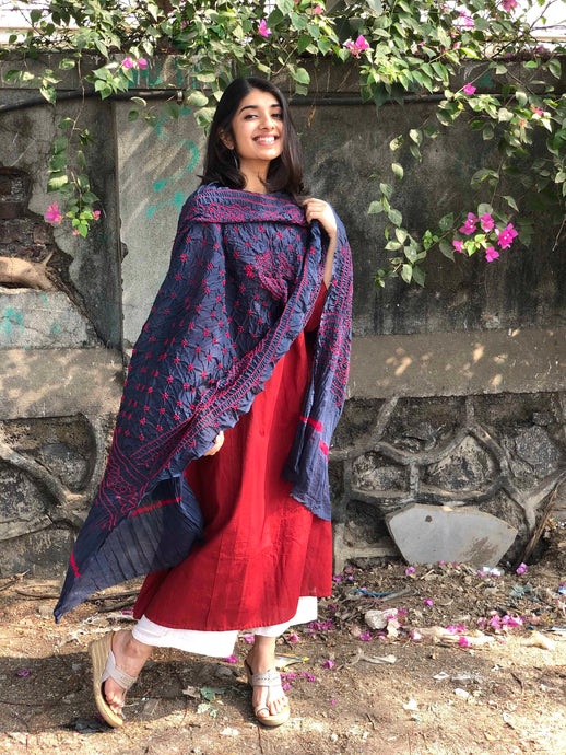 Bandhej Grey Cotton Dupatta