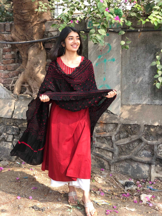 Bandhej Black Cotton Dupatta