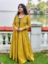 Mustard Ajrakh Hand Threadwork Anarkali