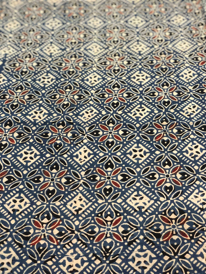 Indigo Square Ajarakh Block Fabric