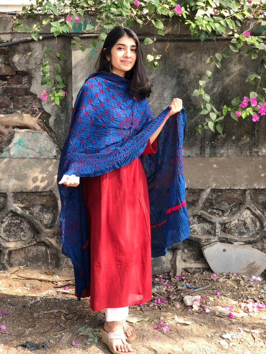 Bandhej Blue Cotton Dupatta