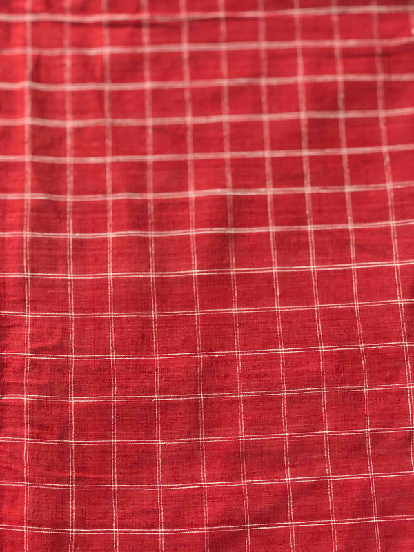 Red Double Lines Checks Malkha  Fabric