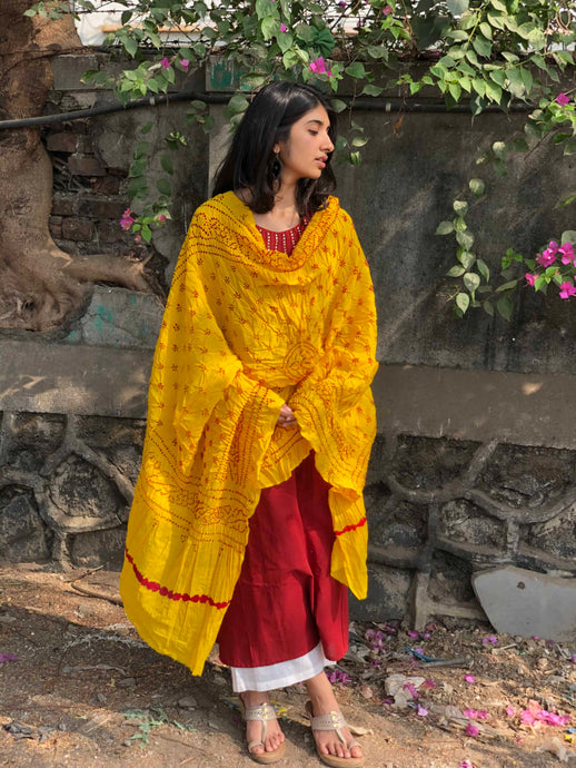 Bandhej Yellow Cotton Dupatta