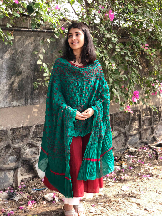 Bandhej Dark Green Cotton Dupatta