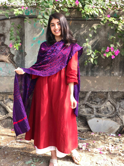 Bandhej Purple Cotton Dupatta