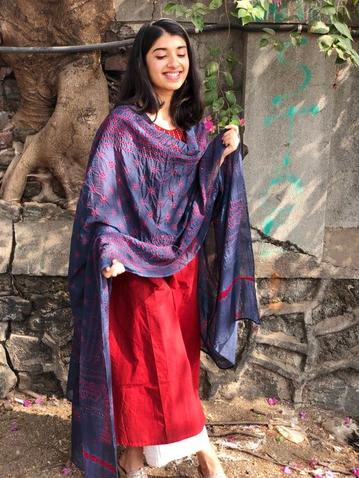 Bandhej Grey Mirror Work Cotton Dupatta