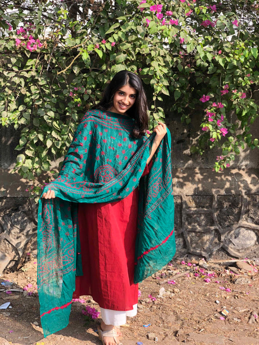 Bandhej dark green mirror work cotton dupatta