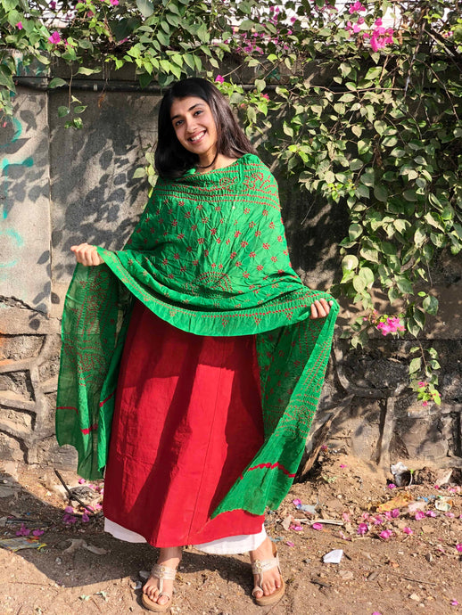 Bandhej Light Green Cotton Dupatta